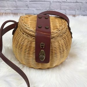 Etienne Aigner Creel Basket Rattan Leather Purse